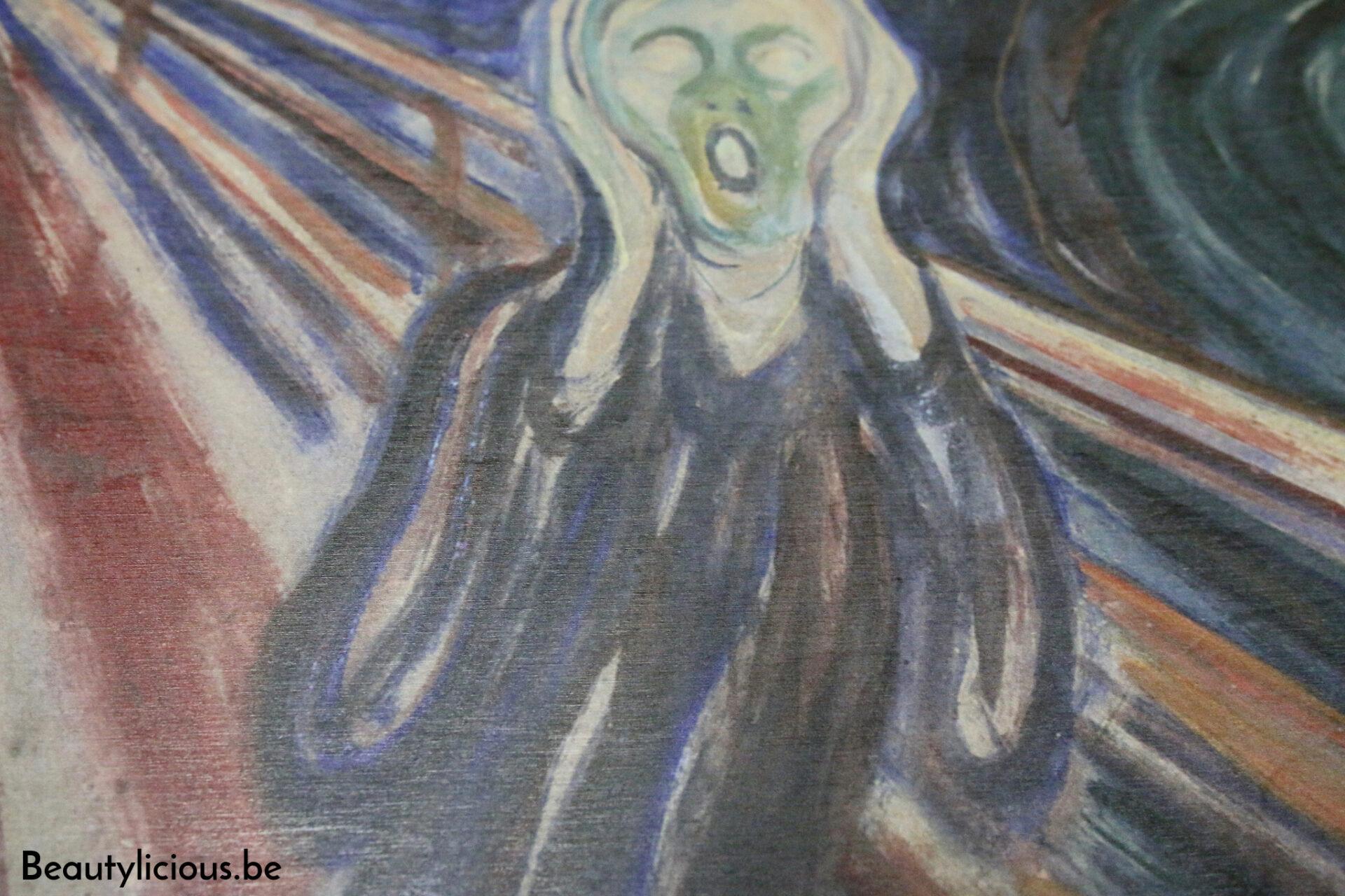 Détail de la peinture sur bois Le Cri de Munch de Posterlounge